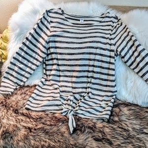 Black and off white striped knotted shirt- Sale!